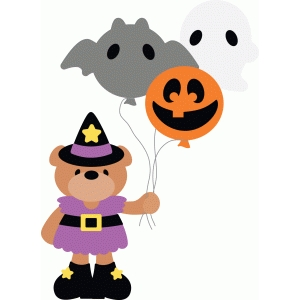 witch bear with balloons