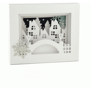 5x7 winter city shadow box card