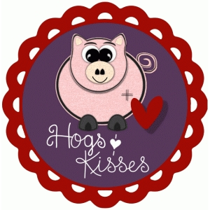 hogs and kisses print and cut valentine