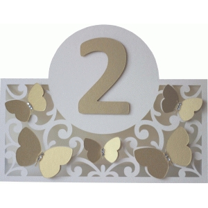 butterflies and flourishes table number card
