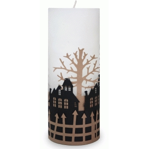 halloween haunted house 3 layered candle wrap