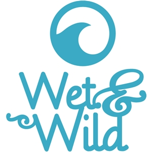 'wet and wild' word logo set