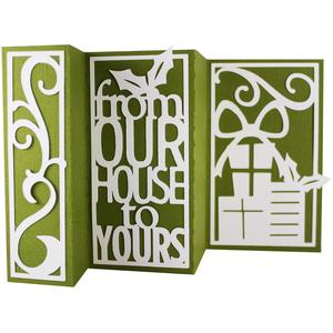 accordion fold card - from our house to yours