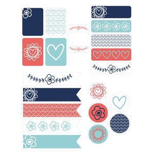 flowers and hearts planner stickers