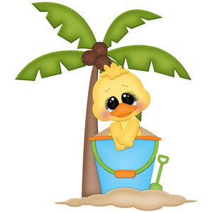 beach duck under palm tree