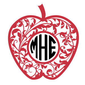 apple flourish monogram frame