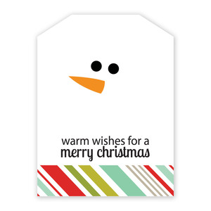 warm wishes snowman neighborhood gift tag