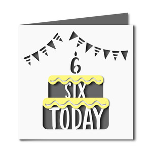 6 today cake cutout birthday card