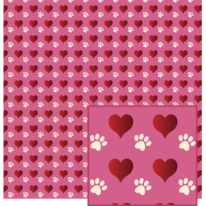 paw print and red heart pattern