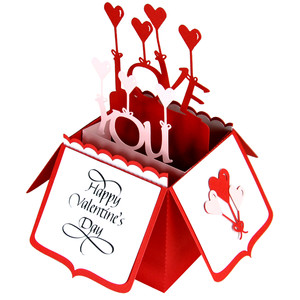 love you balloons card in a box