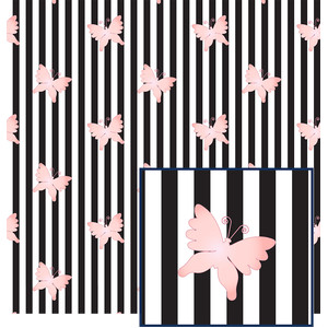 butterflies on stripes pattern