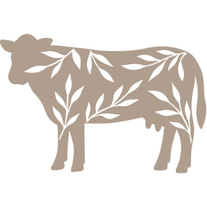 cow silhouette with leaves