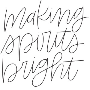 sketch handwritten making spirits bright phrase
