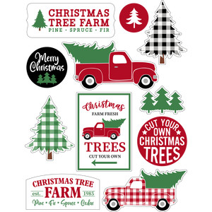 christmas red truck stickers