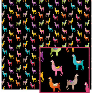 llama pattern on black