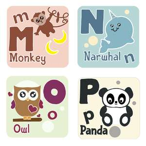 animal alphabet cards m to p