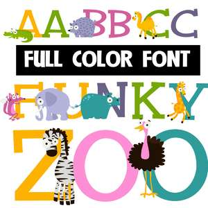 funky zoo color font
