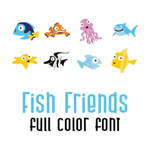 DB fish friends full color font