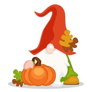 fall gnome with pumpkin