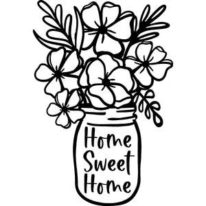 home sweet home flowers in mason jar