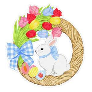 easter bunny and tulip wreath