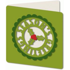 'season's greeting' cut out holly card