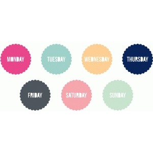 days of the week scallop circles