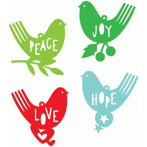 peace joy hope love bird ornaments set