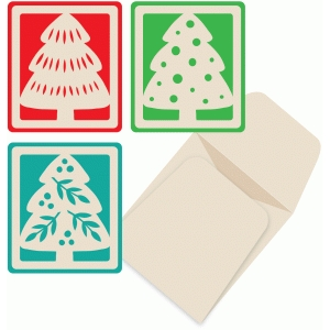 holiday tree mini cards and envelope set