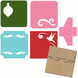 christmas swirl mini gift tags and envelope