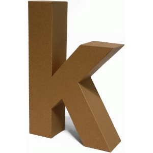 3d lowercase letter block k
