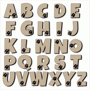 dog paw alphabet - printable