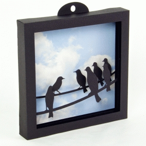 3d birds on a wire shadow box