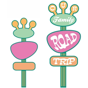 'our family road trip' retro sign