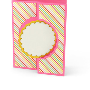 flip flap card scalloped circle