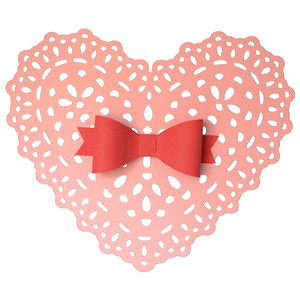 heart doily with bow