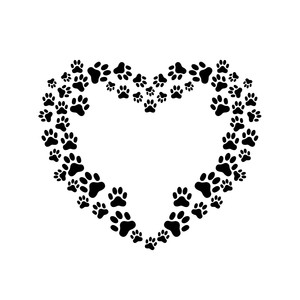paw prints heart