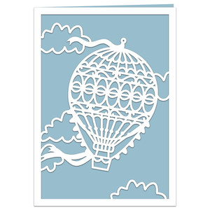 vintage hot air balloon card