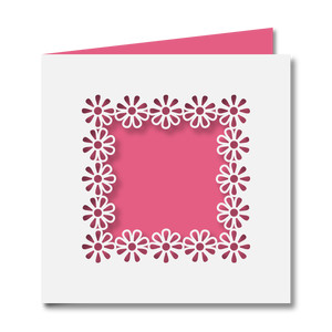 floral cutout square wreath card