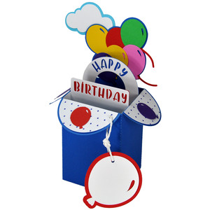 happy birthday balloons card in a box