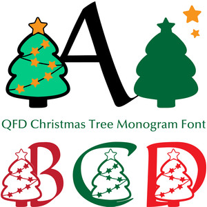 qfd christmas tree monogram font