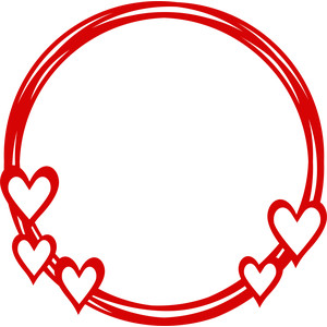 hearts love circle frame