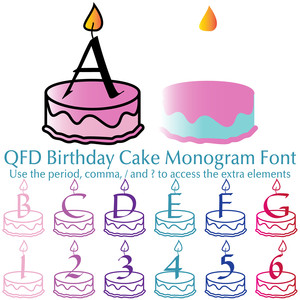 qfd birthday cake monogram font