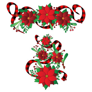 red poinsettias christmas design