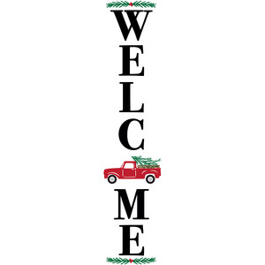 welcome christmas truck porch sign