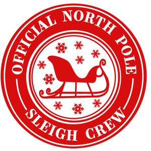 official north pole sleigh crew label