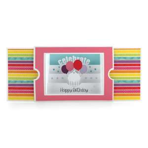 sliding shadow box card cupcake