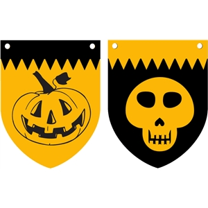 pumpkin & skull banner flags