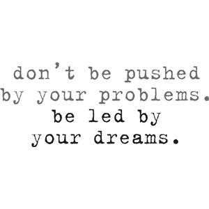 don't be pushed by your problems