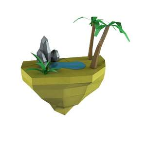 lowpoly cartoon island oasis